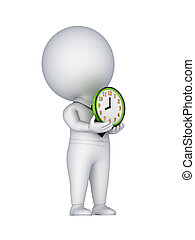 3d small person with a colorful clock in a hands.Isolated on...
