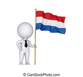 3d small person with a Flag of the Netherlands.
