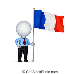 3d small person with a  French flag in a hand.
