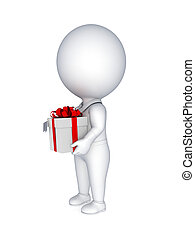 3d small person with a gift box in a hands.