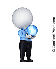 3d small person with a globe in a hands.