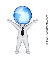 3d small person with a globe on a head.