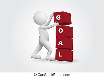 3d Small Person with a goal word. Success concept