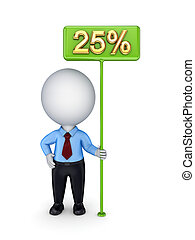 3d small person with a green bunner 25%.