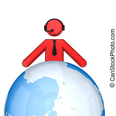 3d small person with a headphones near  globe.