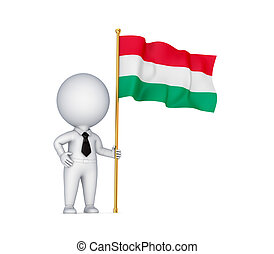 .3d small person with a Hungarian flag in a hand.