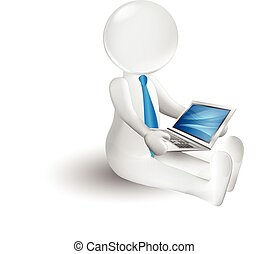 3d small person with a laptop