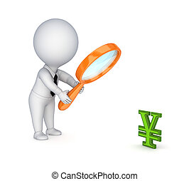 3d small person with a loupe and yen symbol. Isolated on white background.3d rendered.