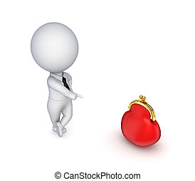 3d small person with a red purse.