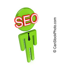 3d small person with a red word SEO on a face.