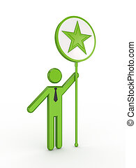 3d small person with a star symbol in a hand.