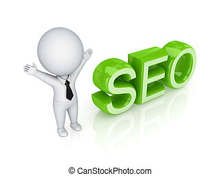 3d small person with a word SEO.