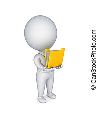 3d small person with a yellow folder in a hands. Isolated on...