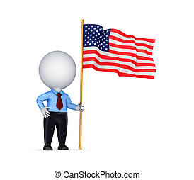 3d small person with american flag in a hand.Isolated on...