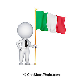.3d small person with an Italian flag in a hand.