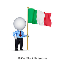 3d small person with an Italian flag in a hand.