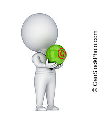 3d small person with AT symbol in a hands.