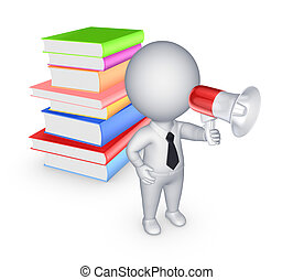 3d small person with bullhorn and colorful books.