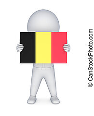 3d small person with flag of Belgia.