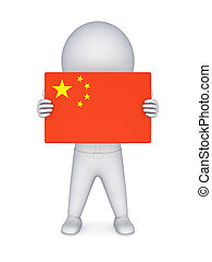 3d small person with flag of China.