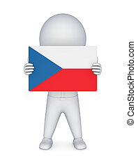 3d small person with flag of Czech Republic.