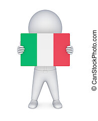 3d small person with flag of Italy.