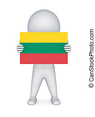 3d small person with flag of Lithuania.