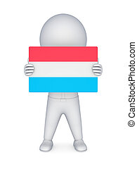 3d small person with flag of Luxembourg.