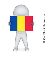 3d small person with flag of Romania.