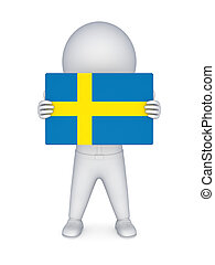3d small person with flag of Sweden.