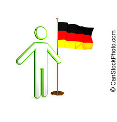 3d small person with German flag.