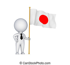 3d small person with Japanese flag in a hand.