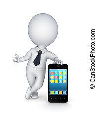 3d small person with modern mobile phone.