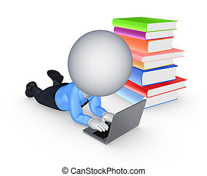 3d small person with notebook and colorful books.