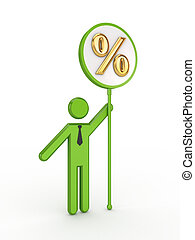 3d small person with percents symbol.