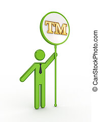 3d small person with TM symbol.