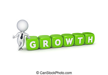 3d small person with word GROWTH.