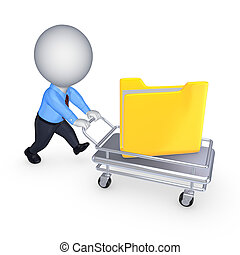 3d small person with yellow folder on pushcart.