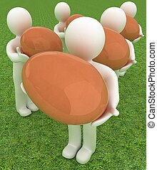 3d small persons holds the big Easter egg in a hand. 3d image. On green grass