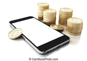 3d, smartphone, bitcoin, espèces.