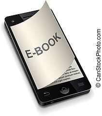 3D smartphone e-book concept with curled title page vector illustration.