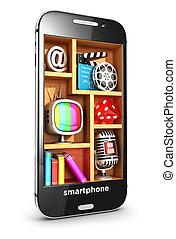3d, smartphone, multimedia, concetto