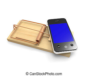 3d Smartphone on a mouse trap - 3d render of a smartphone on...