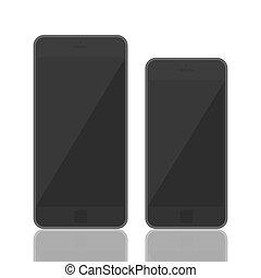 3d, smartphone, realistyczny, szablon