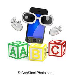 3d Smartphone teaches the alphabet