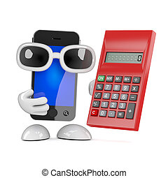 3d Smartphone with a calculator