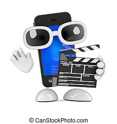 3d Smartphone with clapperboard