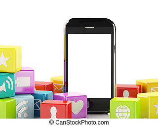 3d Smartphone with cloud of Application Icons
