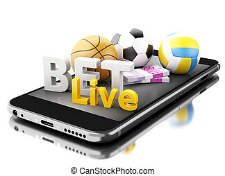 3d Smartphone with sport balls, money and bet live. Betting...