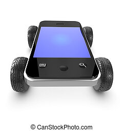3d Smartphone with wheels